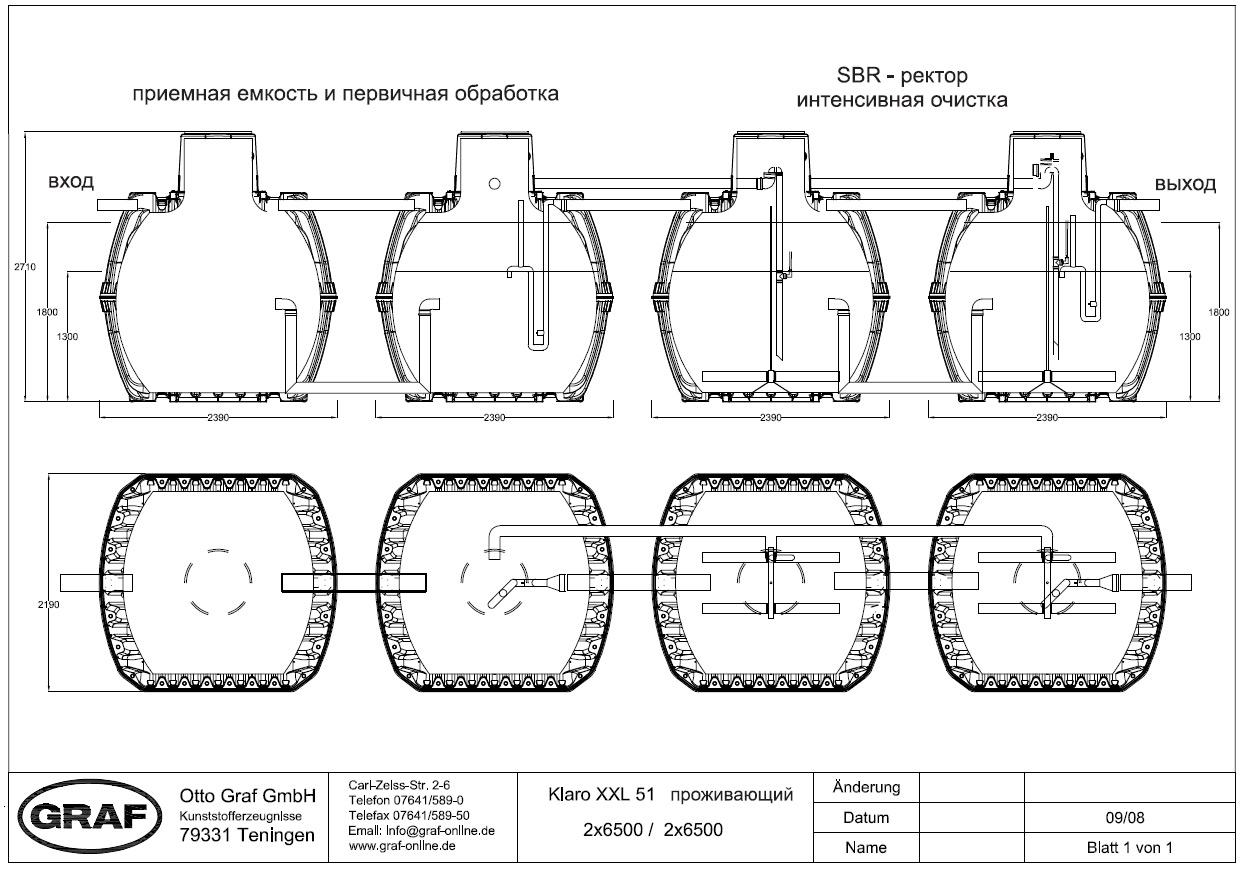 Пример станции очистки рассчитанной на 50 человек производительностью до 10 м³