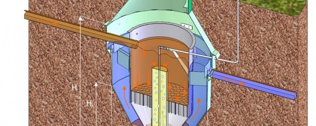 NV-T – система очистки бытовых стоков, избыточный ил откачивается в концентрационный резервуар;